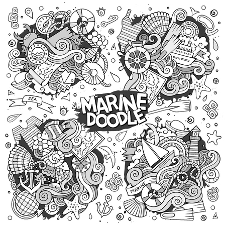 Marine nautical vector doodles design Illustration
