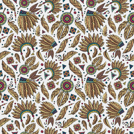 Vector cartoon seamless pattern with tribal elements Illustration