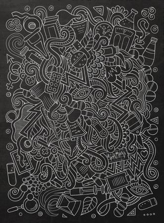 Cartoon cute doodles hand drawn Medical illustration 向量圖像
