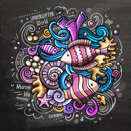 Underwater cartoon vector doodle chalkboard illustration Illustration