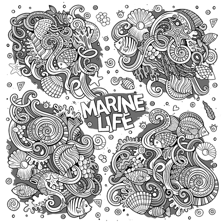 海洋生物の落書きデザインのライン アート セット  イラスト・ベクター素材