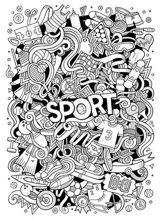 Cartoon cute doodles hand drawn Sport illustration