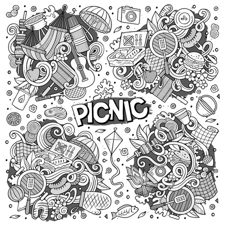 Line art vector hand drawn doodle cartoon set of picnic objects and symbols Ilustrace