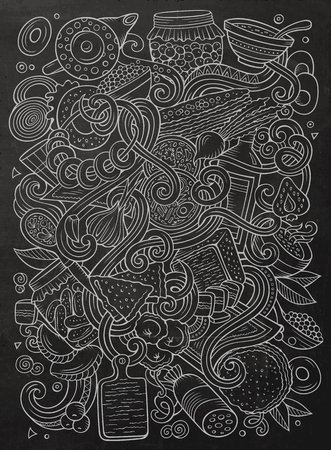 漫画かわいいいたずら書き手の描かれたロシア料理の図。詳細は、オブジェクトの背景の多くのライン アート。面白いベクトルのアートワーク。黒