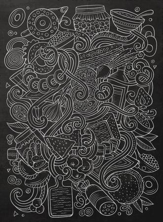 만화 귀여운 낙서 손으로 그려진 된 러시아 음식 그림. 라인 아트, 많은, 배경 개체와. 재미 있은 벡터 아트웍. 요리 테마 항목이있는 칠판 사진