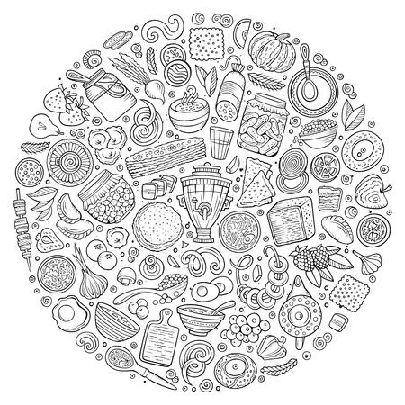 ロシア料理漫画落書きオブジェクト、シンボルと項目のアート ベクトル手描きセットを行します。ラウンド構成  イラスト・ベクター素材