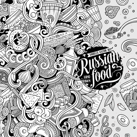 Cartoon cute doodles hand drawn Russian food frame design. Contour detailed, with lots of objects background. Funny vector illustration. Line art border with cuisine theme items Ilustração