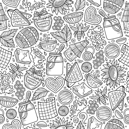 Cartoon cute Honey seamless pattern Çizim