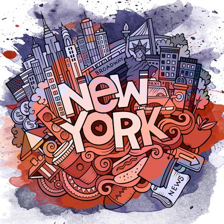 漫画かわいい落書きが描かれたニューヨークに行きます碑文を手します。