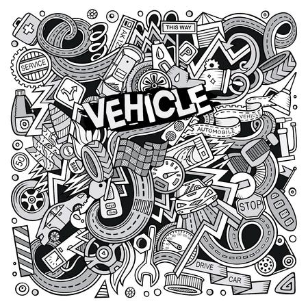 Cartone animato carino doodles illustrazione autunnale Vettoriali