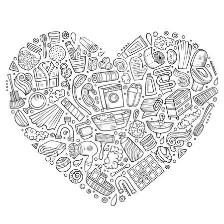 Vector hand getekende reeks Badkamers cartoon doodle objecten Stock Illustratie