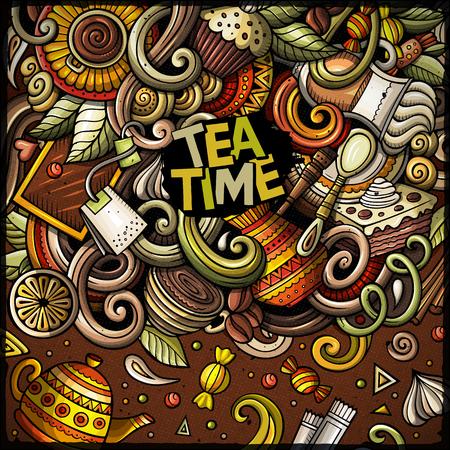 Cartoon doodles of cafe, coffee shop border Иллюстрация