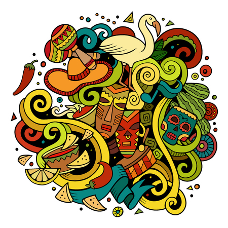 手描き漫画落書きラテン アメリカの図