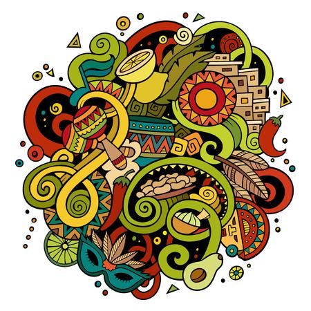 Cartoon handgezeichneten Kritzeleien lateinamerikanische Illustration Standard-Bild - 81446953