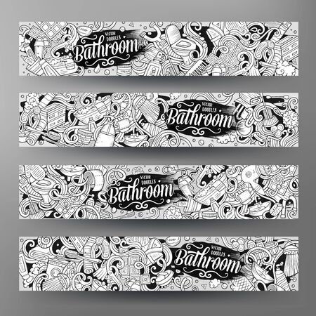 Cartoon vector doodles Bathroom horizontal banners