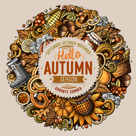 Cartoon cute doodles hand drawn Autumn round illustration. All items are separate. Фото со стока - 81731695