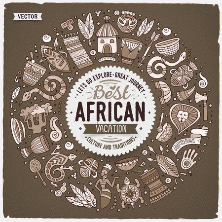 Conjunto de objetos de dibujos animados de dibujos animados de África redonda marco Ilustración de vector