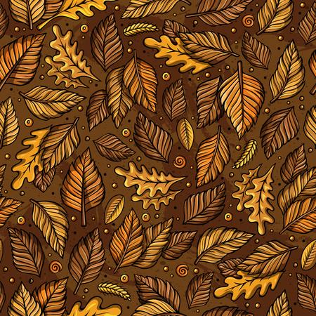 만화 귀여운 손으로 그린 가을 원활한 패턴 일러스트