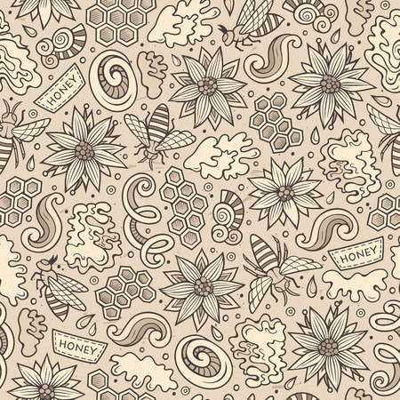 Cartoon cute Honey seamless pattern Ilustração