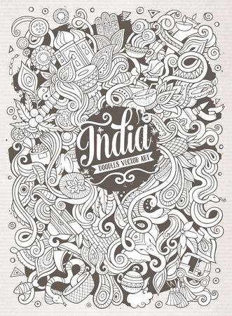 漫画かわいい落書き手描き下ろしのインド図  イラスト・ベクター素材