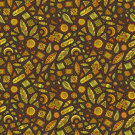 부족 요소와 벡터 만화 원활한 패턴