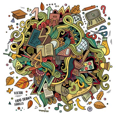 Cartoon doodles disegnata a mano scuola illustrazione