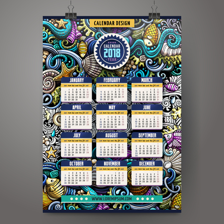 Cartoon doodles Underwater life 2018 year calendar template