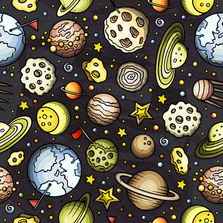 Cartoon hand-drawn space, planets seamless pattern Ilustração