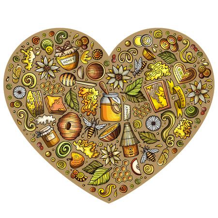 Ensemble de vecteur coloré d'objets de doodle de dessin animé au miel Banque d'images - 81732062