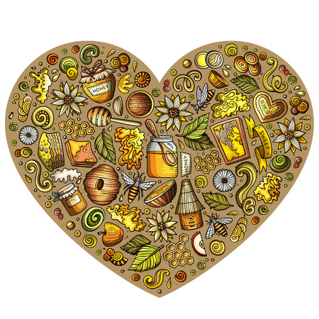 Kleurrijke vector set van Honey cartoon doodle objecten