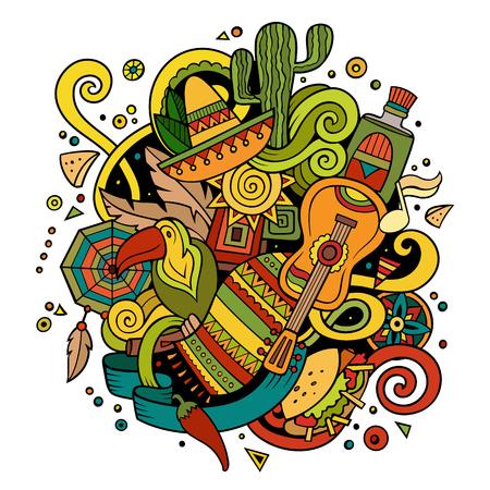 Cartoon hand-drawn doodles Latin American illustration Imagens - 81804307