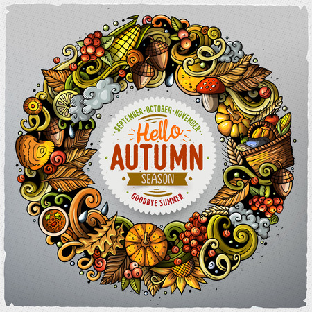 Cartoon cute doodles hand drawn Autumn round frame design. All items are separate.