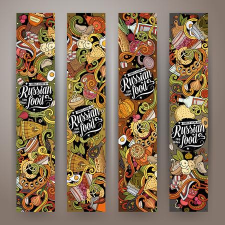 Cartoon vector doodles Russian food 2 vertical banners