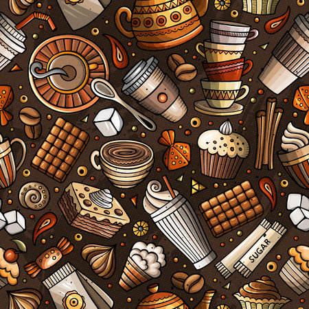 Cartoon coffee shop seamless pattern Иллюстрация