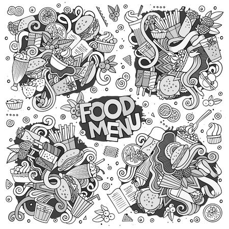 Fast food doodles hand drawn sketchy vector symbols