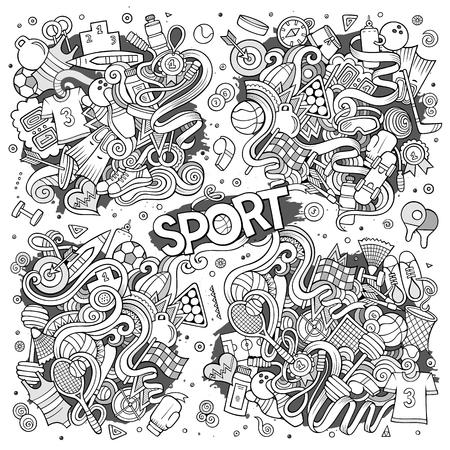 boxing tape: Doodle cartoon set of Sport designs Illustration