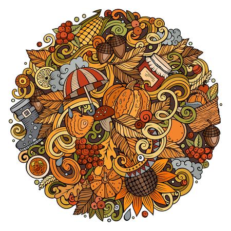 Cartoon cute doodles hand drawn autumn round illustration