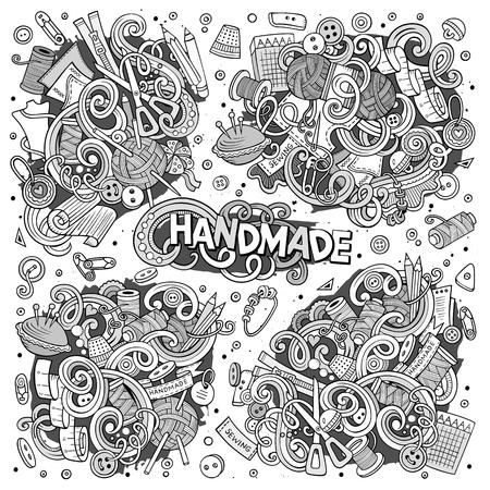 Doodle cartoon set van handgemaakte object