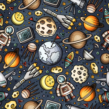 Cartoon hand-drawn space, planets seamless pattern Illusztráció