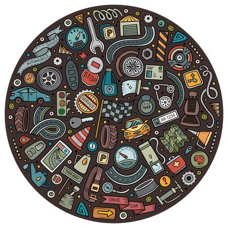 Vector set of Automobile cartoon objects Illustration