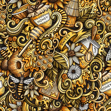 Cartoon niedlichen Doodles Hand gezeichnet Honig nahtlose Muster Standard-Bild - 81924330