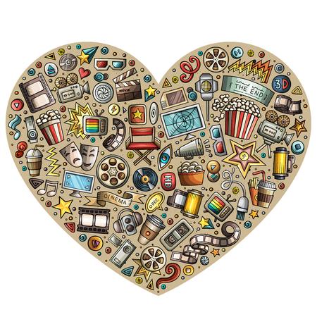 Ensemble d'objets de doodle de dessin animé de cinéma Banque d'images - 81924324