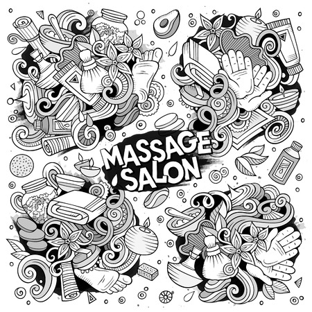 Vector set of Massage and Spa doodle designs Illustration