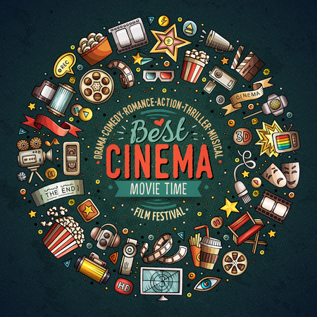 Colorful vector hand drawn set of Cinema cartoon doodle objects, symbols and items. Round frame composition