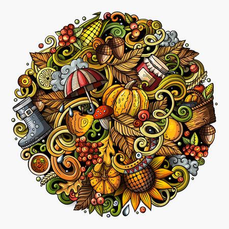 漫画のベクトル落書き秋丸の図。詳細は、オブジェクトの背景の多くのカラフルな。すべての項目が分かれています。面白い画像秋の明るい色  イラスト・ベクター素材