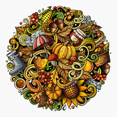 Cartoon vector doodles Autumn round illustration. Colorful detailed, with lots of objects background. All items are separate. Bright colors fall funny picture Фото со стока - 81960734