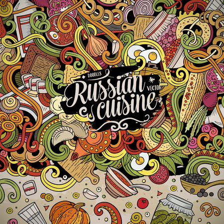 Cartoon cute doodles Russian food frame design Imagens - 82000103