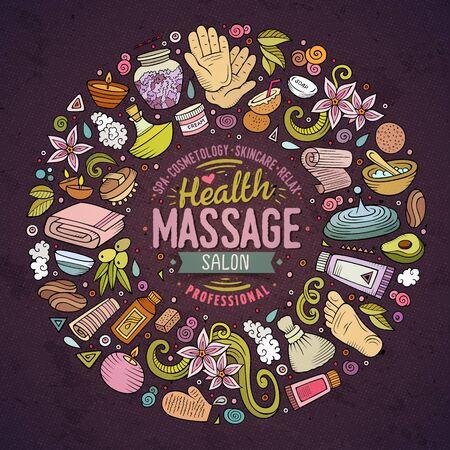 Kleurrijke vector hand getekende verzameling van massage cartoon doodle voorwerpen, symbolen en items. Ronde frame samenstelling