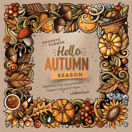 Cartoon cute doodles hand drawn Autumn frame design. All items are separate. Illustration