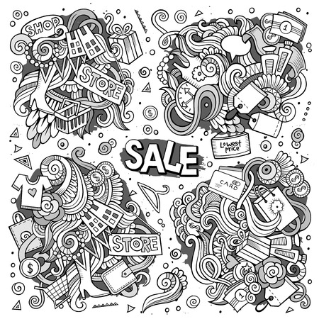 super woman: Vector cartoon set of Sale doodles designs Illustration